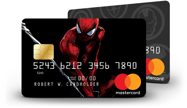 Marvel Mastercard Spider-Man and Marvel Icons card designs