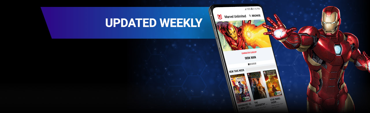 Updated Weekly. Iron-Man with a screenshot of the app.