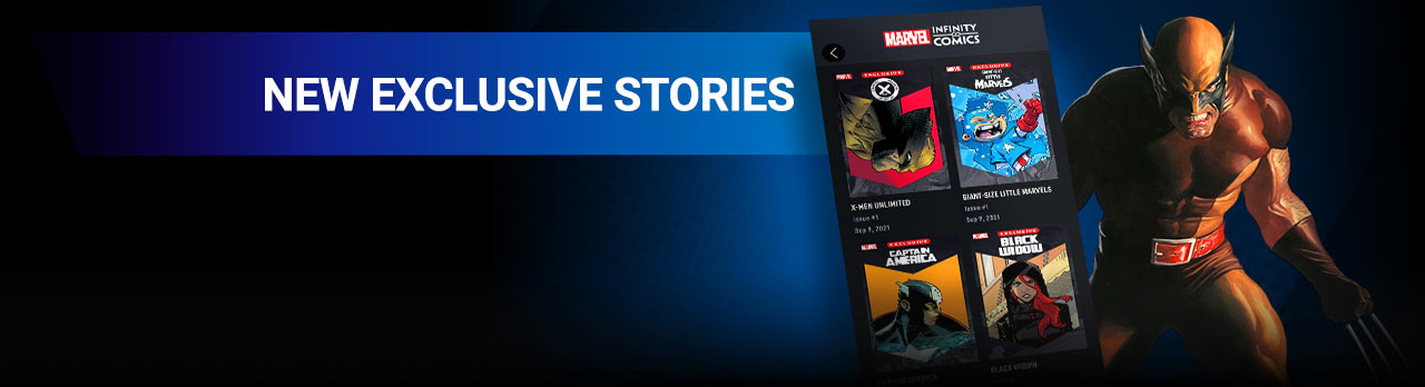 NEW EXCLUSIVE STORIES: Introducing Infinity Comics! Read all-new in-universe stories, told in vertical format! Wolverine with Marvel Infinity Comics screen from the app.
