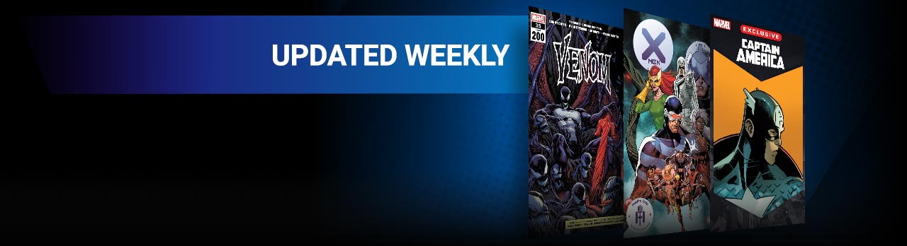 UPDATED WEEKLY: Classic and newer issues added every week of Marvel's must-read series, as soon as 3 months after they hit shelves! Three comic covers: Venom (2018) #35, X-Men (2019) #21, Captain America Infinity Comic (2021) #1