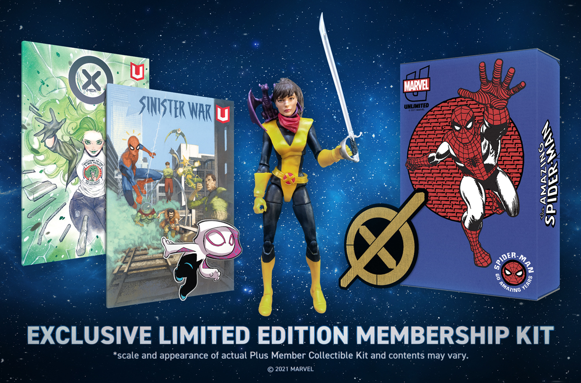 Annual Plus Membership Kit featuring a figure, pin, patch, comics and box.