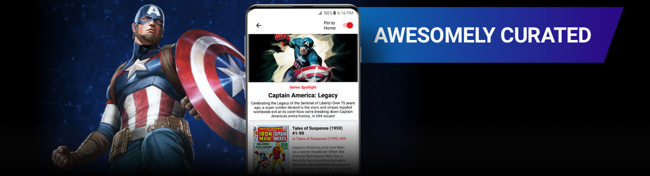 Awesomely Curated. Captain America with shield next to a screenshot of the app.