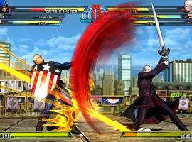 Screenshot of Captain America vs. Dante from Marvel vs. Capcom 3