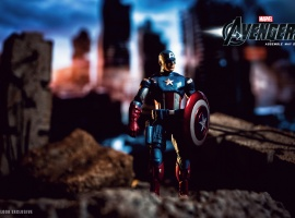 The Captain America action figure from Hasbro's Avengers movie line; Photo by Ed McGowan