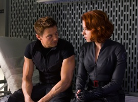Jeremy Renner and Scarlett Johansson star as Hawkeye and the Black Widow in Marvel's The Avengers