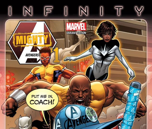 MIGHTY AVENGERS 1 BARBERI PARTY VARIANT (INF, WITH DIGITAL CODE)