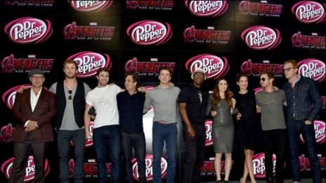 The cast of Marvel's Avengers: Age of Ultron at the Marvel booth