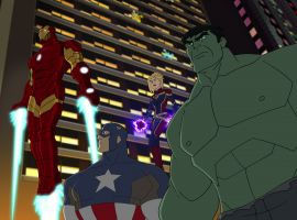 Iron Man, Captain America, Captain Marvel and Hulk in 'Marvel Super Hero Adventures: Frost Fight!'