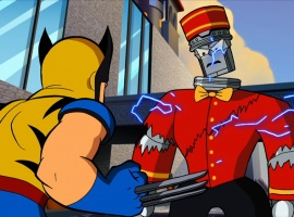 Wolverine vs. A Doombot in The Super Hero Squad Show