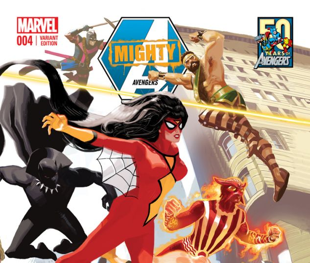MIGHTY AVENGERS 4.INH ACUNA AVENGERS 50TH ANNIVERSARY VARIANT (WITH DIGITAL CODE)