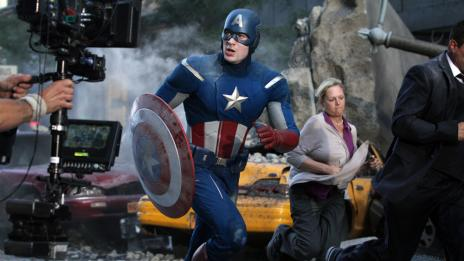 Chris Evans (Captain America) on the set of Marvel's The Avengers