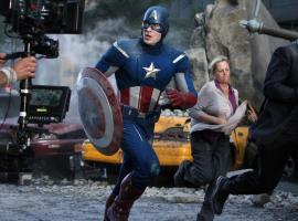 Chris Evans (Captain America) on the set of Marvel's The Avengers