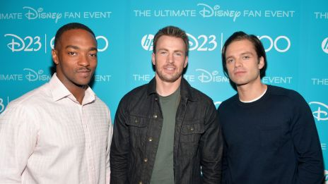 Anthony Mackie, Chris Evans and Sebastian Stan from Marvel's Captain America: The Winter Soldier backstage at D23 Expo