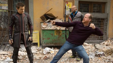 Jeremy Renner (Hawkeye) & director Joss Whedon on set of Marvel's Avengers: Age of Ultron
