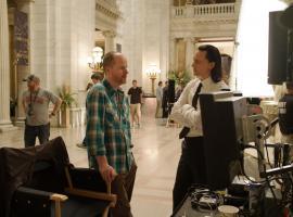 Director Joss Whedon and Tom Hiddleston (Loki) on set of Marvel's The Avengers