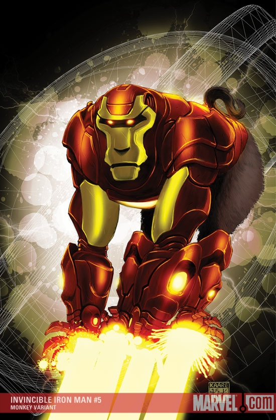Invincible Iron Man (2008) #5 (MONKEY VARIANT (1 FOR 10))