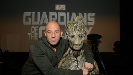 Vin Diesel and Groot at Marvel Studios