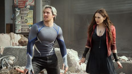 Aaron Taylor-John as Quicksilver and Elizabeth Olsen as Scarlet Witch in Marvel's Avengers: Age of Ultron