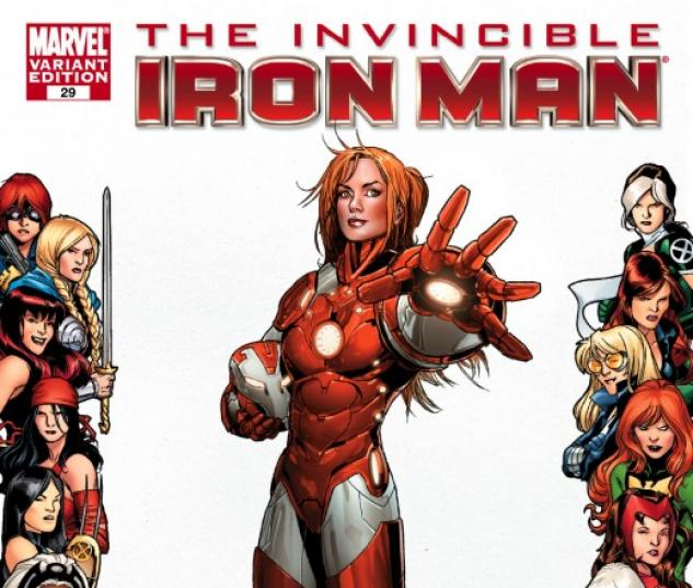 INVINCIBLE IRON MAN #29 WOMEN OF MARVEL FRAME VARIANT cover by Salvador Larroca