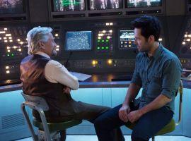 Hank Pym (Michael Douglas) chats with Scott Lang (Paul Rudd) in Marvel's Ant-Man