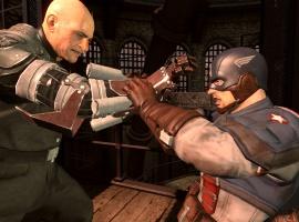 Cap and Baron Strucker battle in Captain America: Super Soldier