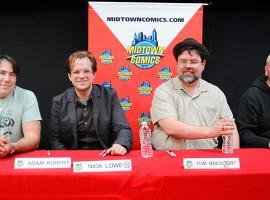 Avengers Vs X-Men Creators at Signing Table at Release Party at Midtown Comics