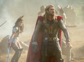 Thor (Chris Hemsworth) and Sif (Jaimie Alexander) on the battlefield in Marvel's Thor: The Dark World