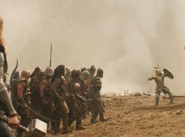 Thor readies to battle a Kronan in Marvel's Thor: The Dark World