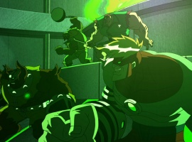 Screenshot of the Gamma-irradiated Wrecking Crew from The Avengers: Earth's Mightiest Heroes!