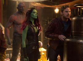 Drax (Dave Bautista), Gamora (Zoe Saldana), and peter Quill (Chris Pratt) in Marvel's Guardians of the Galaxy