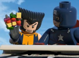 Wolverine preps a snack with Captain America in LEGO Marvel Super Heroes: Maximum Overload