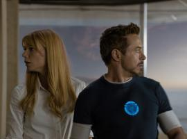 Gwyneth Paltrow and Robert Downey, Jr. star as Pepper Potts and Tony Stark/Iron Man in Iron Man 3