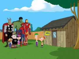 Thor, Hulk, Spider-Man and Iron Man journey to Danville in Phineas and Ferb: Mission Marvel