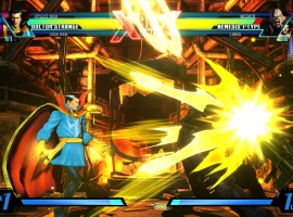 Screenshot of Doctor Strange vs. Nemesis from Ultimate Marvel vs. Capcom 3