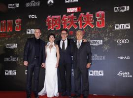 """Robert Downey Jr poses with Chinese costar Bingbing Fan on the """"Iron Man 3"""" World Tour"""