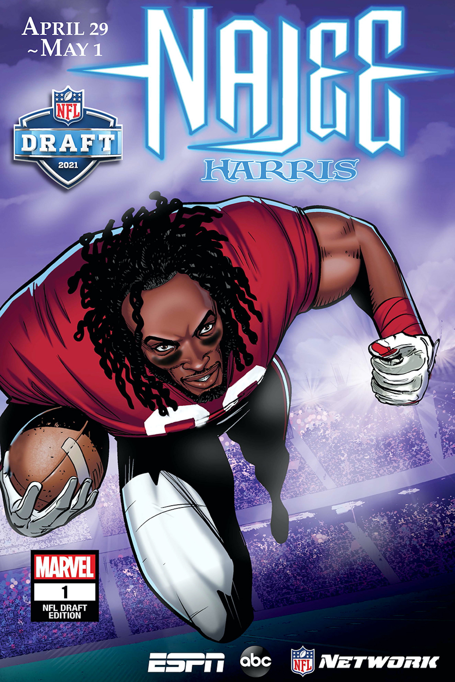 Najee Harris by Ray Anthony Height and Wil Quintana, after STRANGE TALES: BLADE #3 by Bart Sears
